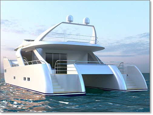 Yacht Design 76 39 Motor Catamaran Stern View