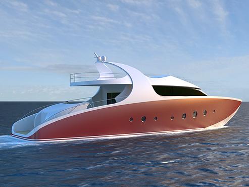 Yacht Design 131 Motor StarboardBow View
